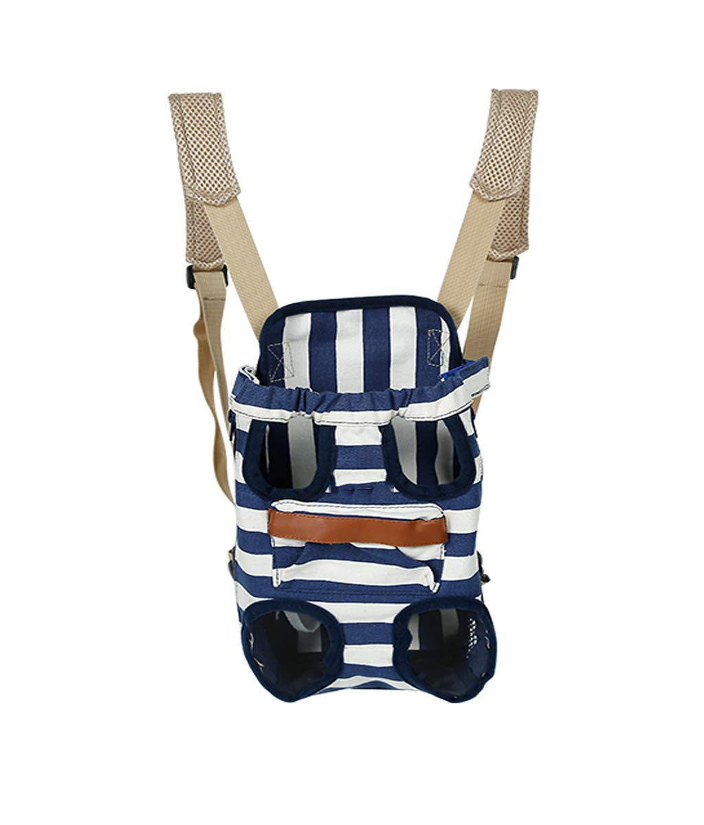 Dark bluee Small Dark bluee Small Pet Backpack Front and Back Comfortable Back and Shoulder Pads Safety Belt with Storage Bag (Red Dark bluee for 2.5Kg-7Kg Pet)
