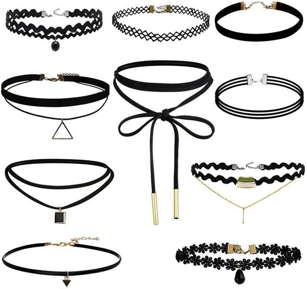 Hosaire 10 Piezas Choker Collares elástico Terciopelo Classic Adhesivo de gótico Encaje Gargantilla Collares, Negro