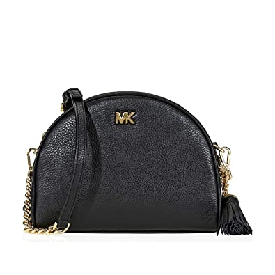 60817a1cac2e10 Michael Kors Ginny Pebbled Leather Half-Moon Crossbody Bag- Black: Handbags:  Amazon.com