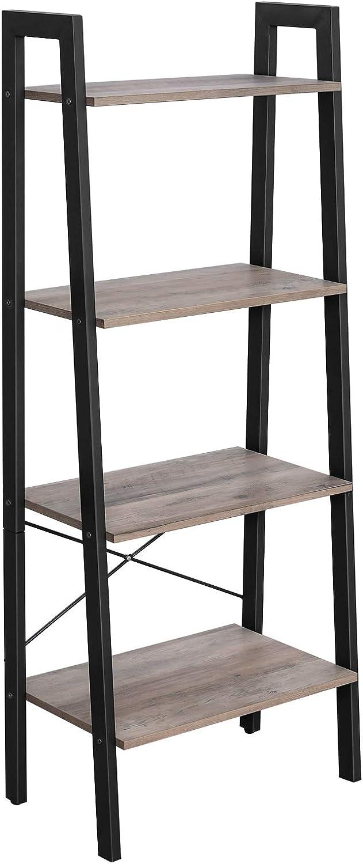 VASAGLE ALINRU Ladder Shelf, 4-Tier Bookshelf, Free Standing Storage Shelves, Stable Metal Frame, in the Living Room Bedroom Kitchen Balcony, Easy to Assemble, Industrial, Greige ULLS44MB