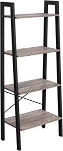 VASAGLE ALINRU Ladder Shelf, 4-Tier Bookshelf, Free Standing Storage Shelves, Stable Metal Frame, in the Living Room Bedroom Kitchen Balcony, Easy to Assemble, Industrial, Greige ULLS44MB