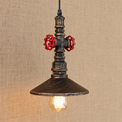E27 Vintage Water Pipe Pendant Light Umbrella Ceiling Lights Iron Industrial Retro Chandelier Bedroom Bedside Living Room Cafe Bar Mall Hotel Garage Hanging Lights Indoor Home Decor Lighting,A