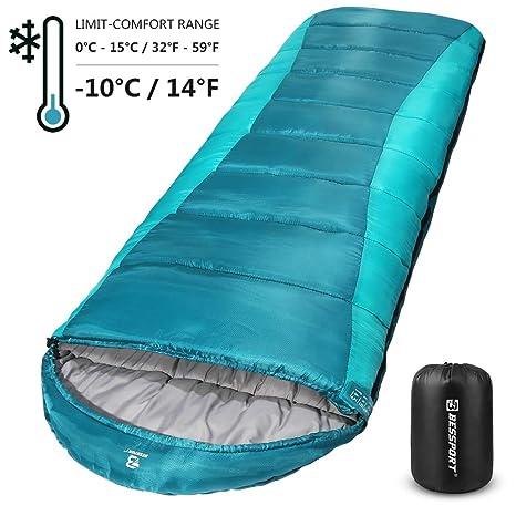 Bessport Saco de Dormir para Acampar, con Bolsa de Compresión, 3-4 ...