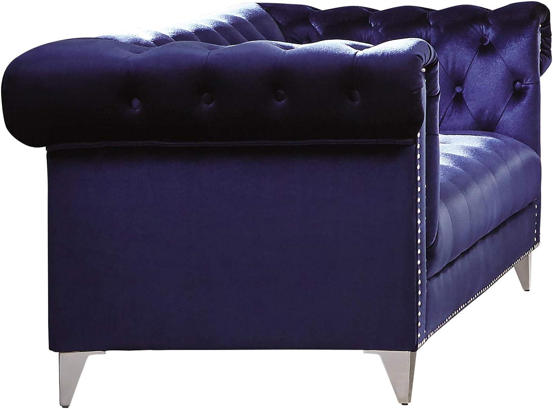 Coaster Home Furnishings Bleker 2-Piece Tuxedo Arm Blue Living Room Set