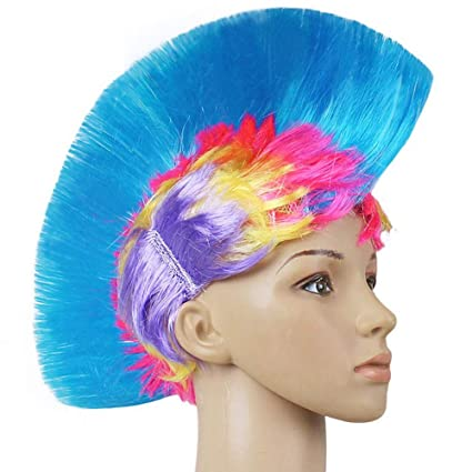 Amazon Com Zdyll Led Light Up Mohawk Wig Light Up Hat Mohawk Hair