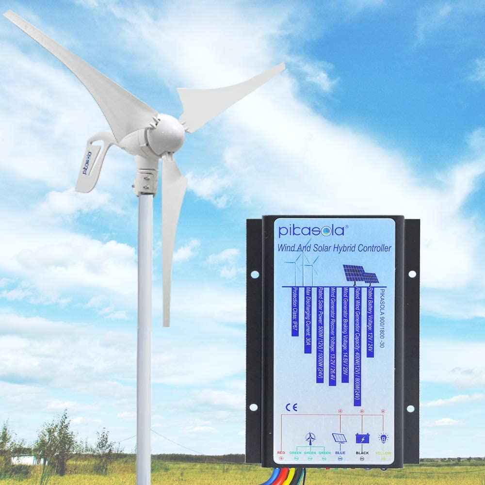 Pikasola Hybrid Wind Controller and Solar Controller for 12V/24V Battery Auto, 30A Hybrid Charge Controller for Off Grid Max 800W Wind Turbine Charge and 1000W Solar Panel with MCT Charging Function. : Garden & Outdoor