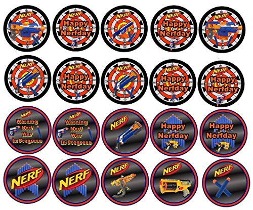 20 Nerf Inspired Edible Image Cookie or Cupcake Topppers (Prem Frosting)