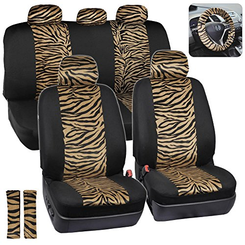 Two Tone Leopard Print Car Seat Covers (Zebra Beige)