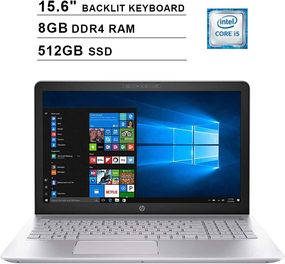 HP Premium Pavilion 15.6 Inch HD Laptop (Intel Quad Core i5-8250U, 3.40 GHz, 8GB DDR4 RAM, 512GB SSD, Backlit Keyboard, Bluetooth, WiFi, Windows 10) (Renewed)