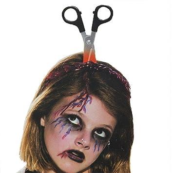 Halloween Scary AXE THROUGH HEAD HEADBAND Prop Fake Bloody Band Hair Costume UK