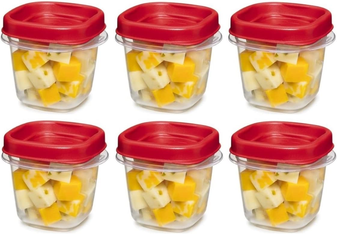 Rubbermaid kkk 781147333731 Easy Find Lid Square 1/2-Cup Food Storage Container, 6 Pack, Cups, Clear with Red
