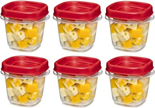 product image for Rubbermaid 781147333731 Easy Find Square 1/2-Cup Food Storage Container, 6 Pack, (6 Cups), Clear with Red Lid