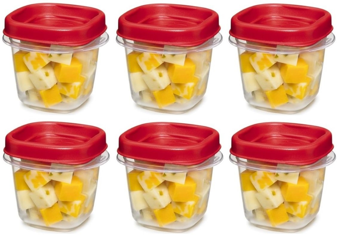 Rubbermaid Easy Find Lid Square 1/2-Cup Food Storage Container, 6 pack