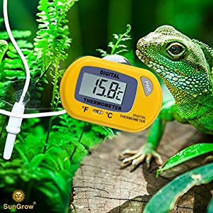 SunGrow Reptile Digital Thermometer, 2.3x1.5 Inches, Waterproof Sensor Probe Monitors Temperature Accurately, Easy to Read Display, Includes Replaceable Batteries, Yellow 9