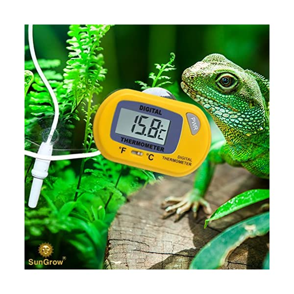SunGrow Reptile Digital Thermometer, 2.3x1.5 Inches, Waterproof Sensor Probe Monitors Temperature Accurately, Easy to Read Display, Includes Replaceable Batteries, Yellow 1