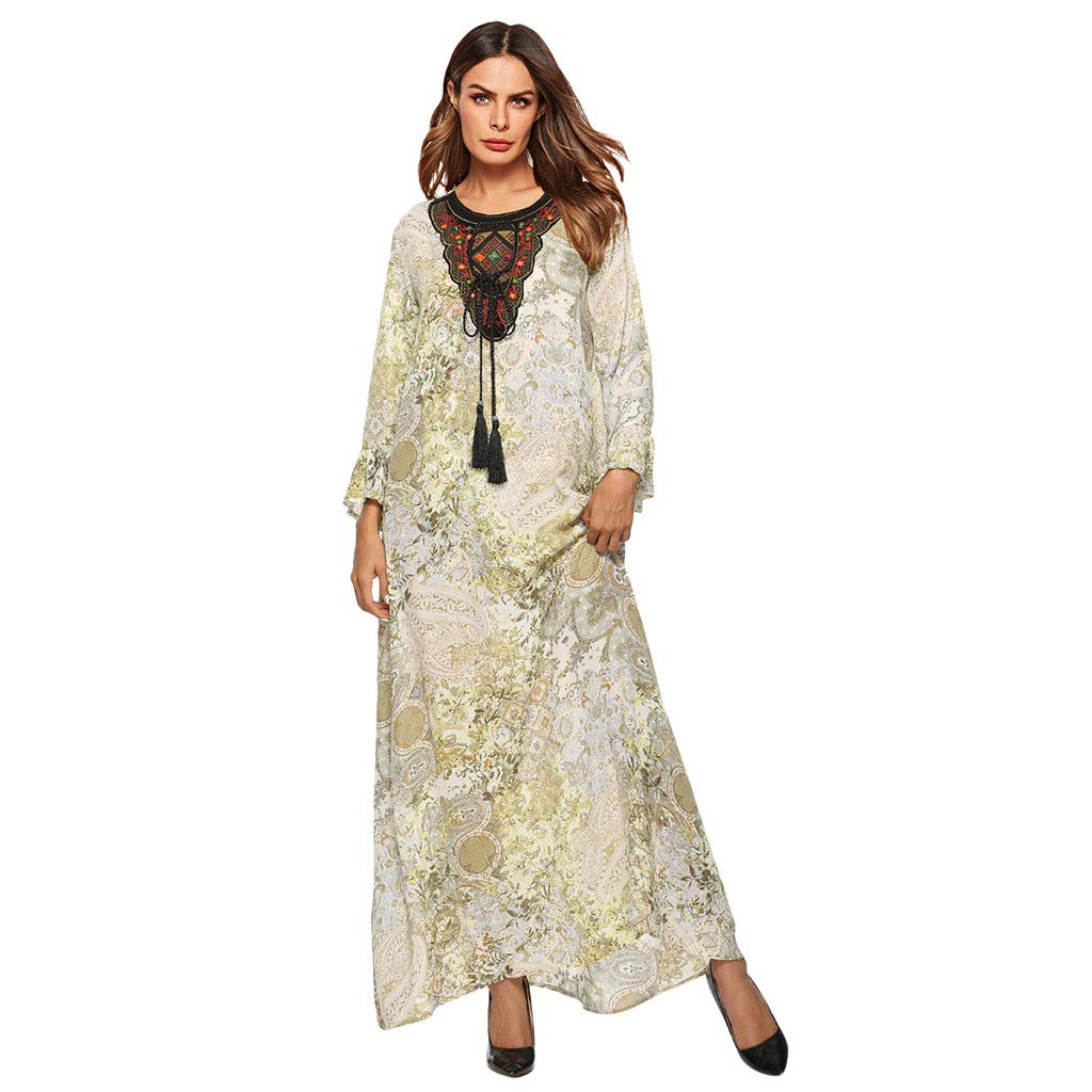 FONMA Women Casual Muslim Printing Loose Long Sleeve Arab Dress Islam Jilbab Dress Green by FONMA