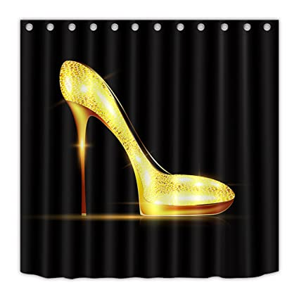 LB High Heel Shoes Decor Shower Curtains For Stall Women Girls Fashion Make Up