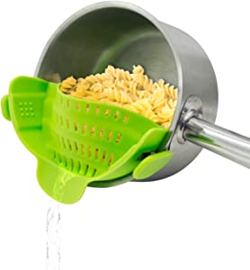 Clip On Strain Strainer,Kitchen Food Strainers Heat Resistant Silicone for Spaghetti,Pasta,Ground Beef Grease,Colander and Sieve Snaps On Bowls,Fits Most Pot and Bowls,Green