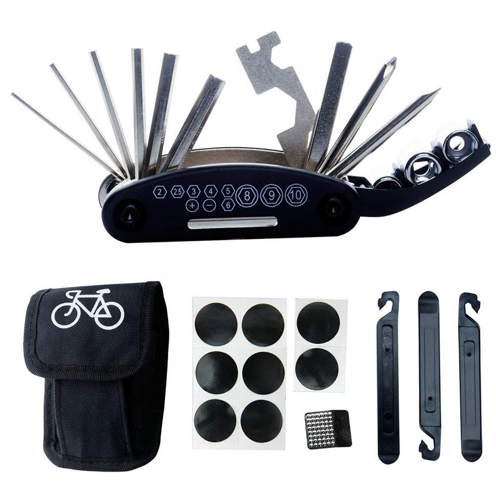 Aesy Bicicleta Reparar Herramienta Kits - 16 en 1 Multifunción Bicicleta Mecánico Fijar Herramientas Conjunto Bolso con Neumático Parche Palancas (Noir)