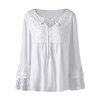 4484830f448 Kangma Women Plus Size V-Neck Lace Solid Loose Long Sleeve Tee Shirt Tops  Blouse White at Amazon Women s Clothing store