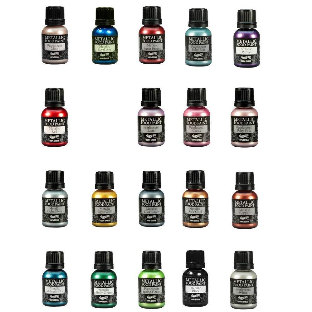 19 Rainbow Dust Metallic & Pearlescent Edible Food Paints & Single Pot of Cupcake Avenue Edible Glue