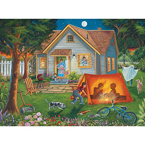 Bits and Pieces - 1000 Piece Jigsaw Puzzle for Adults 20X27 - Backyard Camping - 1000 pc Jigsaw by Artist Christine Carey