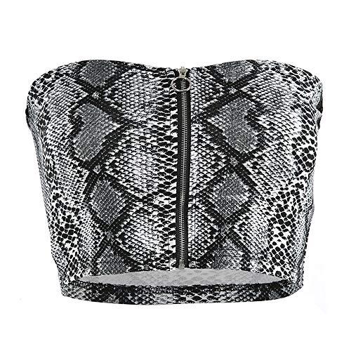 (Women Snake Print Strapless Boob Tube Tops Zipper Backless Streetwear Wrap Top (M) Grey)