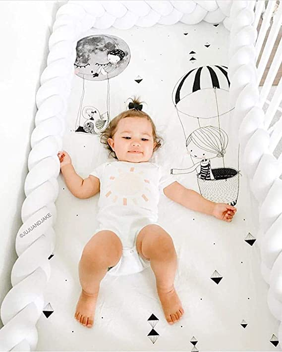 RedSuns Baby Crib Bumpe Crib Bed Bumper Pillow 3 Weave Baby nest Bumper Edge Protection Decoration for Crib cot,4M