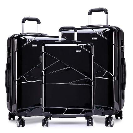b93986e9f Kono Black Luggage Set 3 Pieces Light Weight Hard Shell PC Suitcase 4  Spinner Wheel Travel