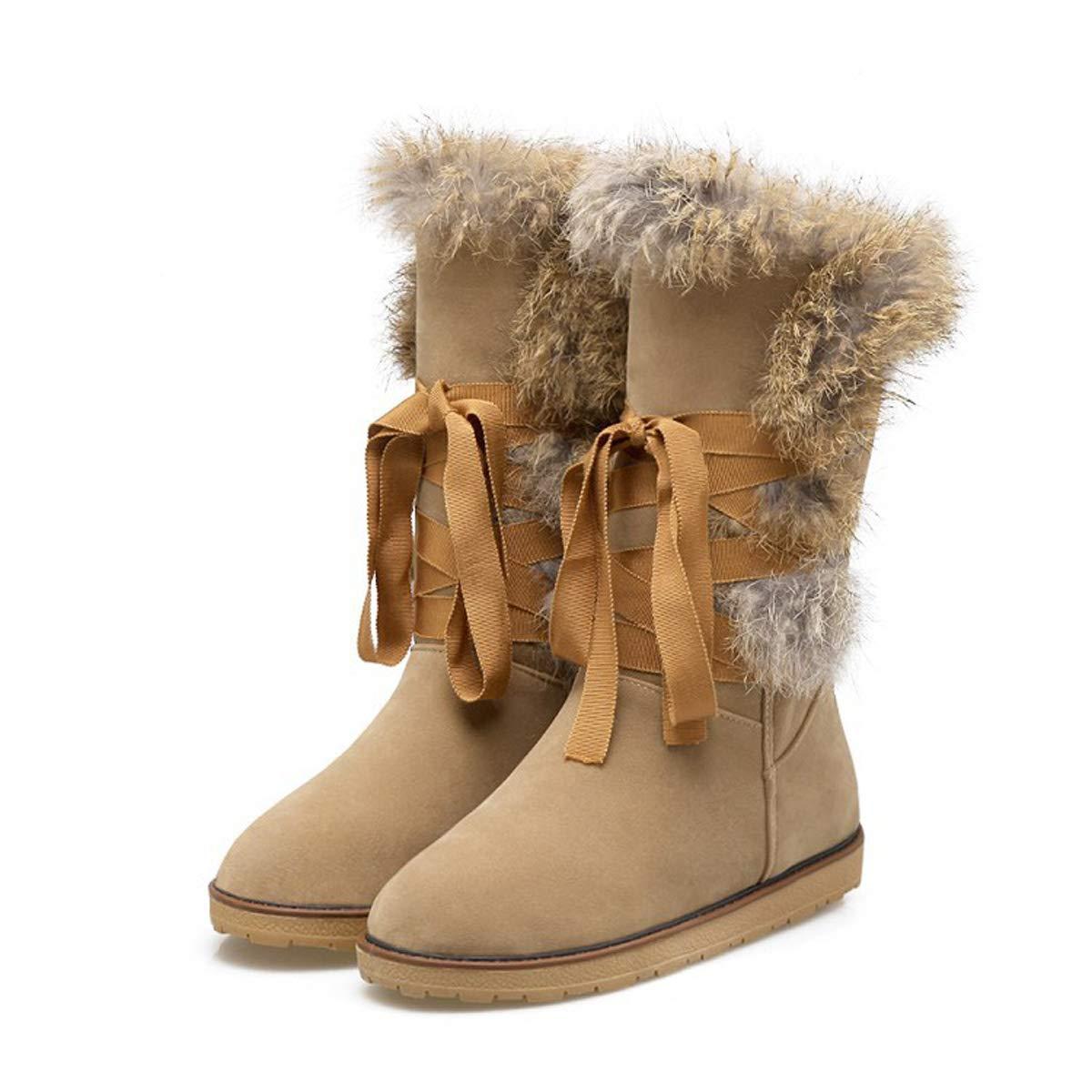 DANDANJIE damen Schnee Stiefel Wasserdichte Winter warme mittlere Wade Stiefel Rutschfeste Lace Up High Top Schuhe A 40EU