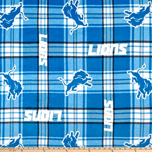 Fabric Traditions NFL Fleece Detroit Lions Plaid Fabric, Blue, Fabric By The Yard