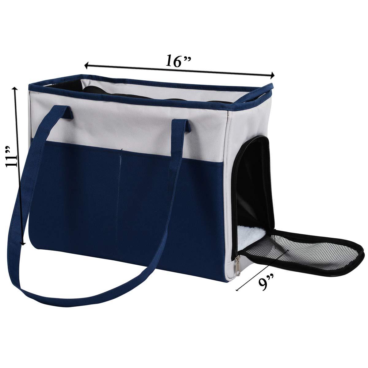Iconic Pet Furrygo Shoulder Carrier/Bag, Navy Blue/Light Grey