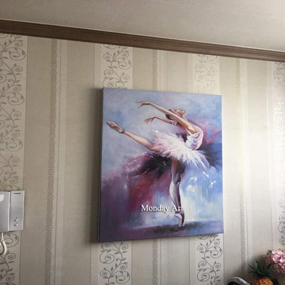 ZHUAIBA Pintado a Mano Pintura al óleo Abstracta Moderna Bailarina de Ballet niñas Arte de la Pared Figura de Pared Cuadro para Decoraciones deEstar 36x48