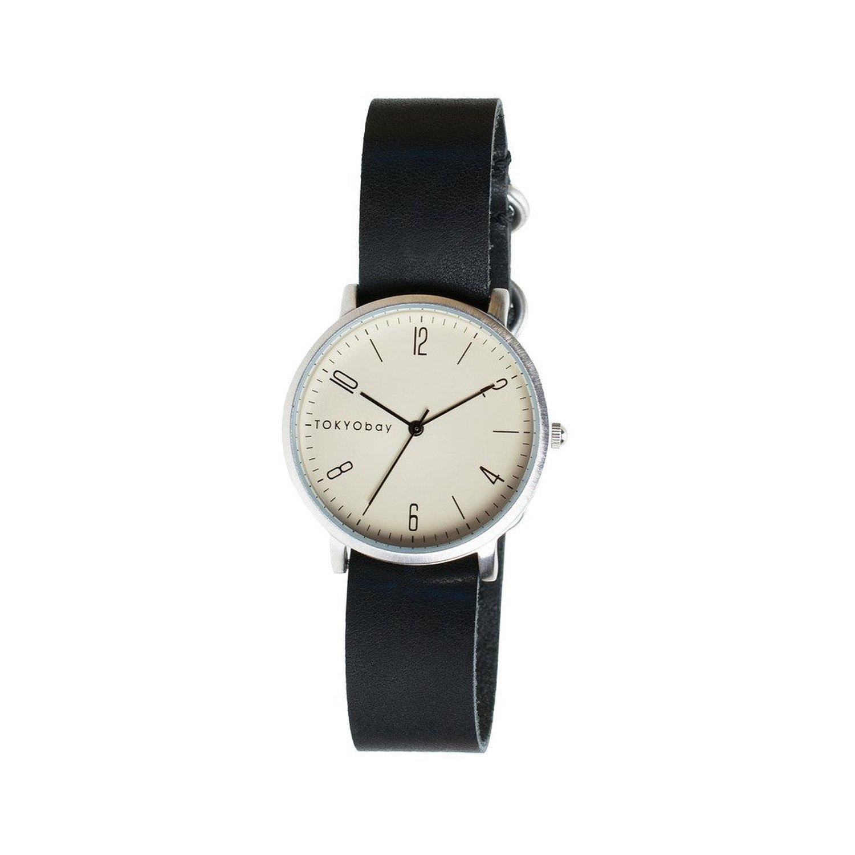 TokyoBay t333-bk Herren Edelstahl schwarz Leder Band Weiß Zifferblatt Smart Watch