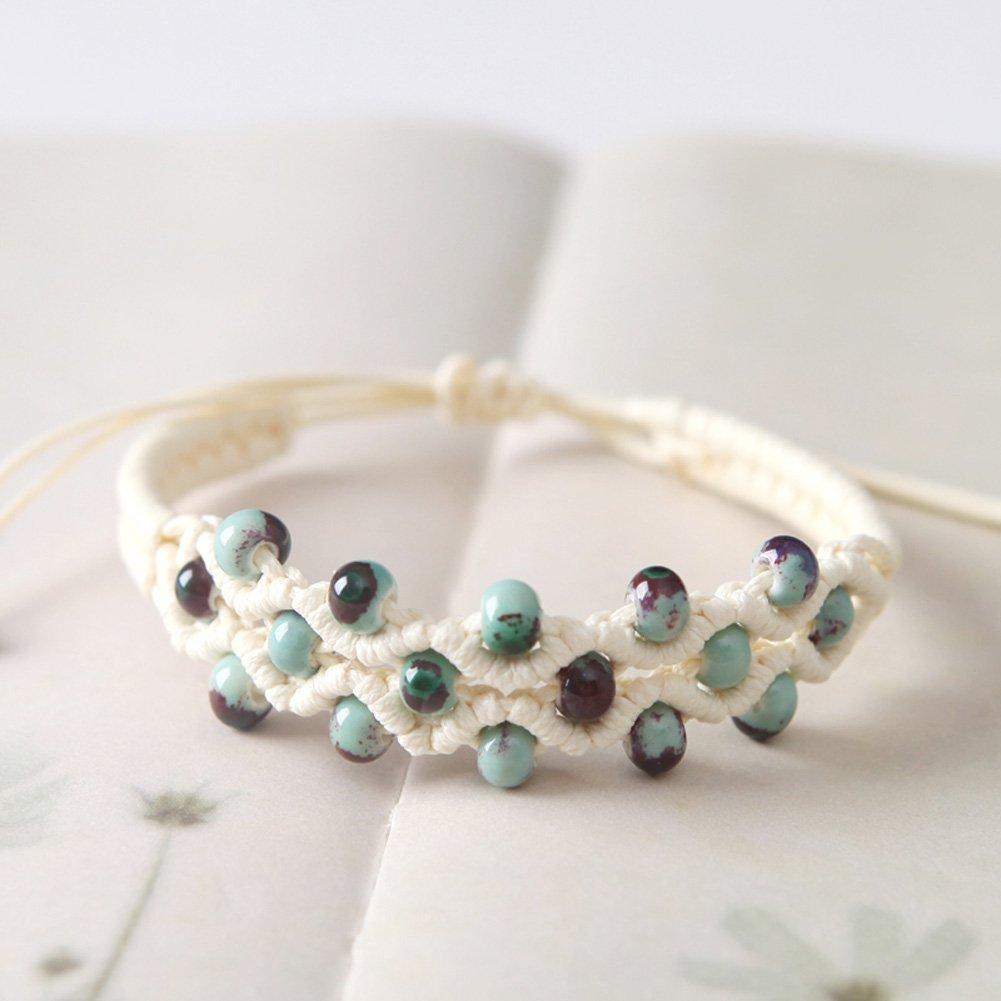 Sweet Color Glaze Porcelain Beads Weaving Bracelets Collocation Adjustable Strape Girls Gift 4pcs
