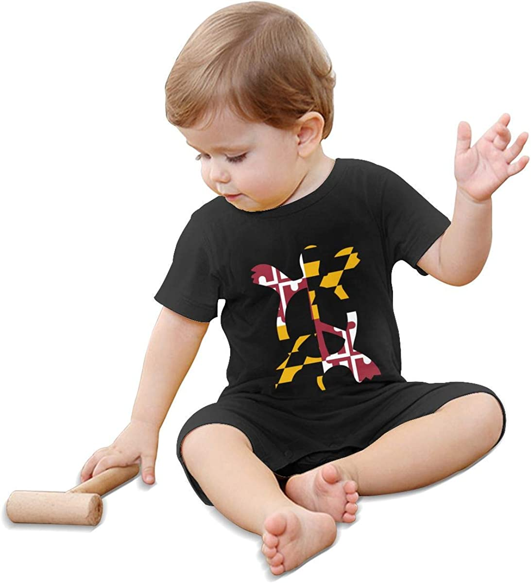 Maryland Flag Sea Turtle Peace Sign-1 Toddler Baby Girl Short Sleeve Jumpsuit One Piece Baby Playsuit Clothing