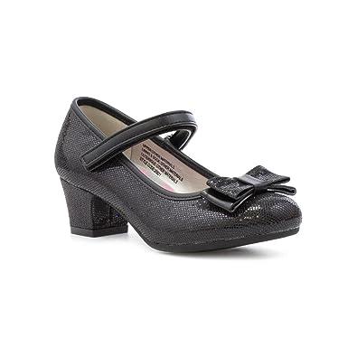 29baa9c4212 Lilley Sparkle Girls Black Bow Heeled Shoe