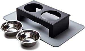 XKX Elevated Dog Bowls for Small Dogs and Cats, Stainless Steel Dog Food and Water Bowls with Stand and Silicone Mat, Raised Dog Cat Feeder, Dog Dishes, Pet Bowls for Puppies and Kittens