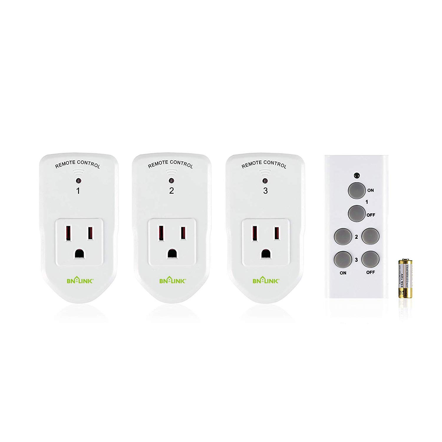 BN-LINK Wireless Remote Control Electrical Outlet Switch for Lights, Fans, Christmas Lights, Small Appliance, Long Range White (Learning Code, 3Rx-1Tx) 1200W/10A by BN-LINK