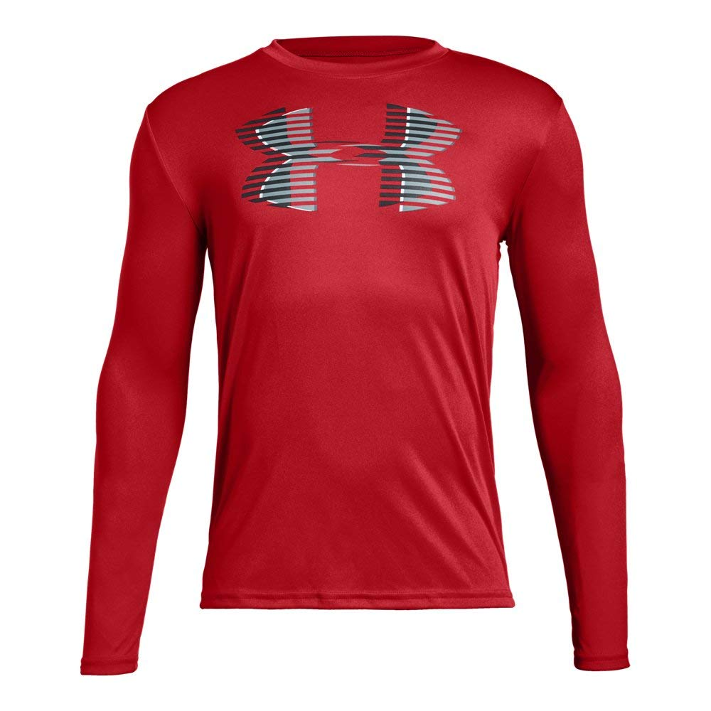 Under Armour Boys Tech Big Logo Long sleeve, Red (600)/Black, Youth Small