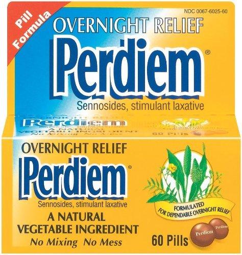 Perdiem Sennosides Stimulant Laxative Pills, Overnight Relief, 60 Count Bottles(Pack of 3) by Perdiem by Perdiem