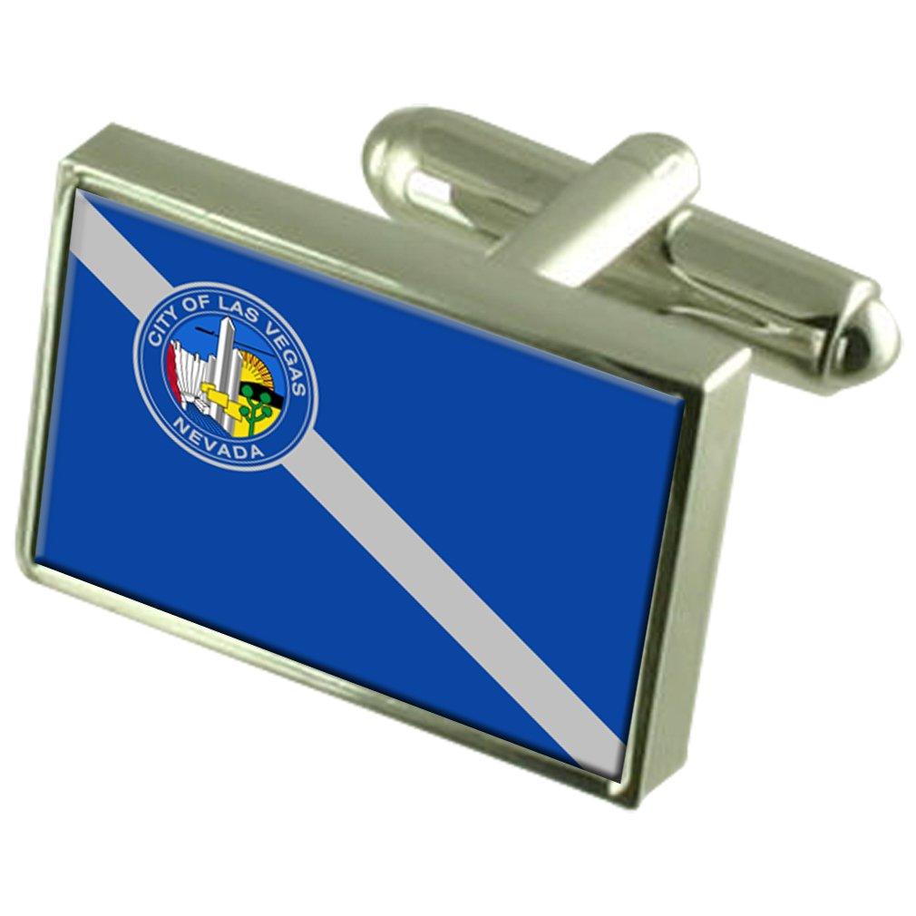 Las Vegas City USA Flag Cufflinks Engraved Box