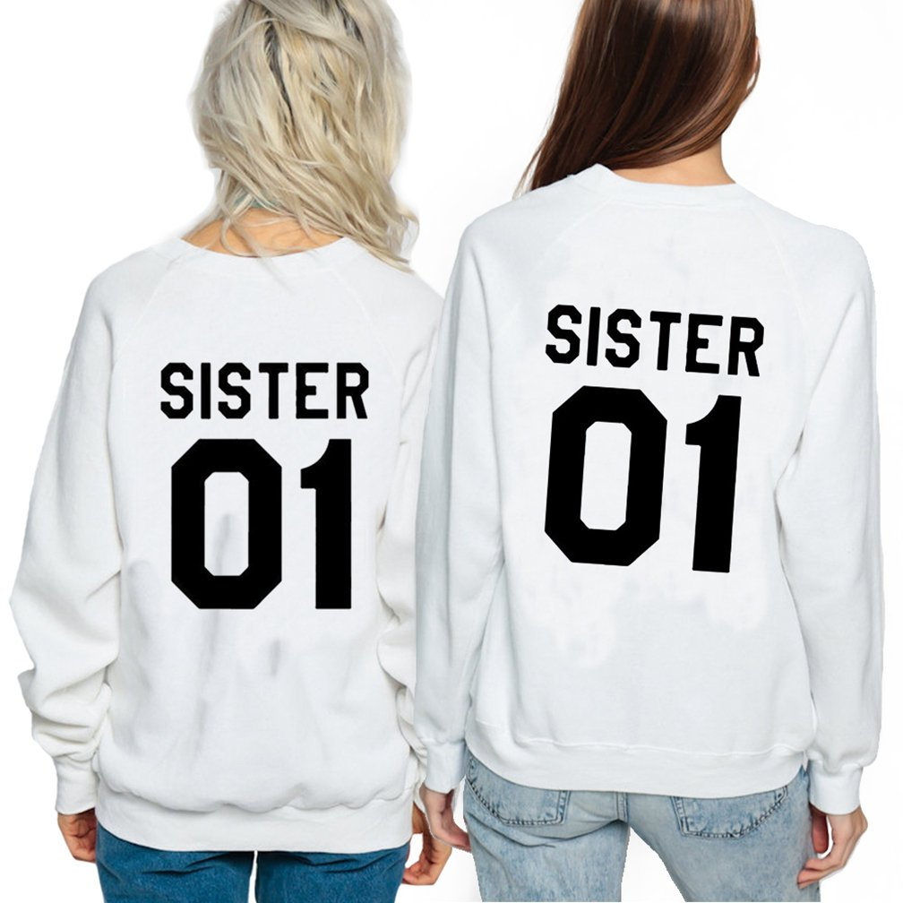 Ziwater Best Friends Felpe Donna Uomo Pullover Autunno Manica Lunga Divertente Sweatshirt con Stampa SISTER01 Hoodies
