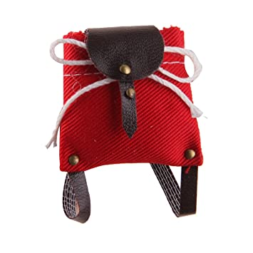 1//12 Dollhouse Miniature Decoration Lovely Red Backpack Sholders Bag