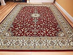 Large 5x8 Red Cream Beige Black Isfahan Area Rug Oriental Carpet 6x8 Rug Living Room Rugs