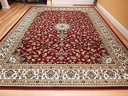 Large 5x8 Red Cream Beige Black Isfahan Area Rug Oriental Carpet 6x8 Rug Living Room Rugs