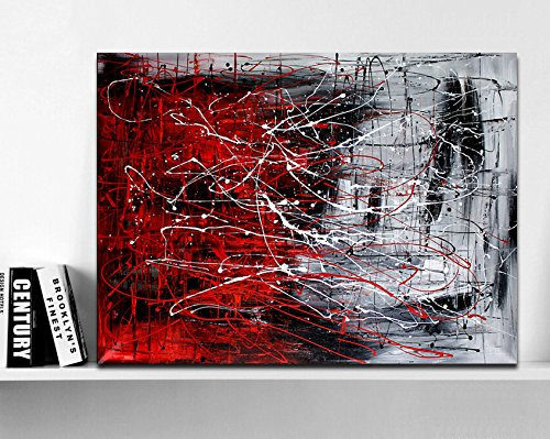 (Hand Painted Original Abstract Modern Art Contemporary Painting Red Black and White Color Wall Art Decor Textured Large Artwork )