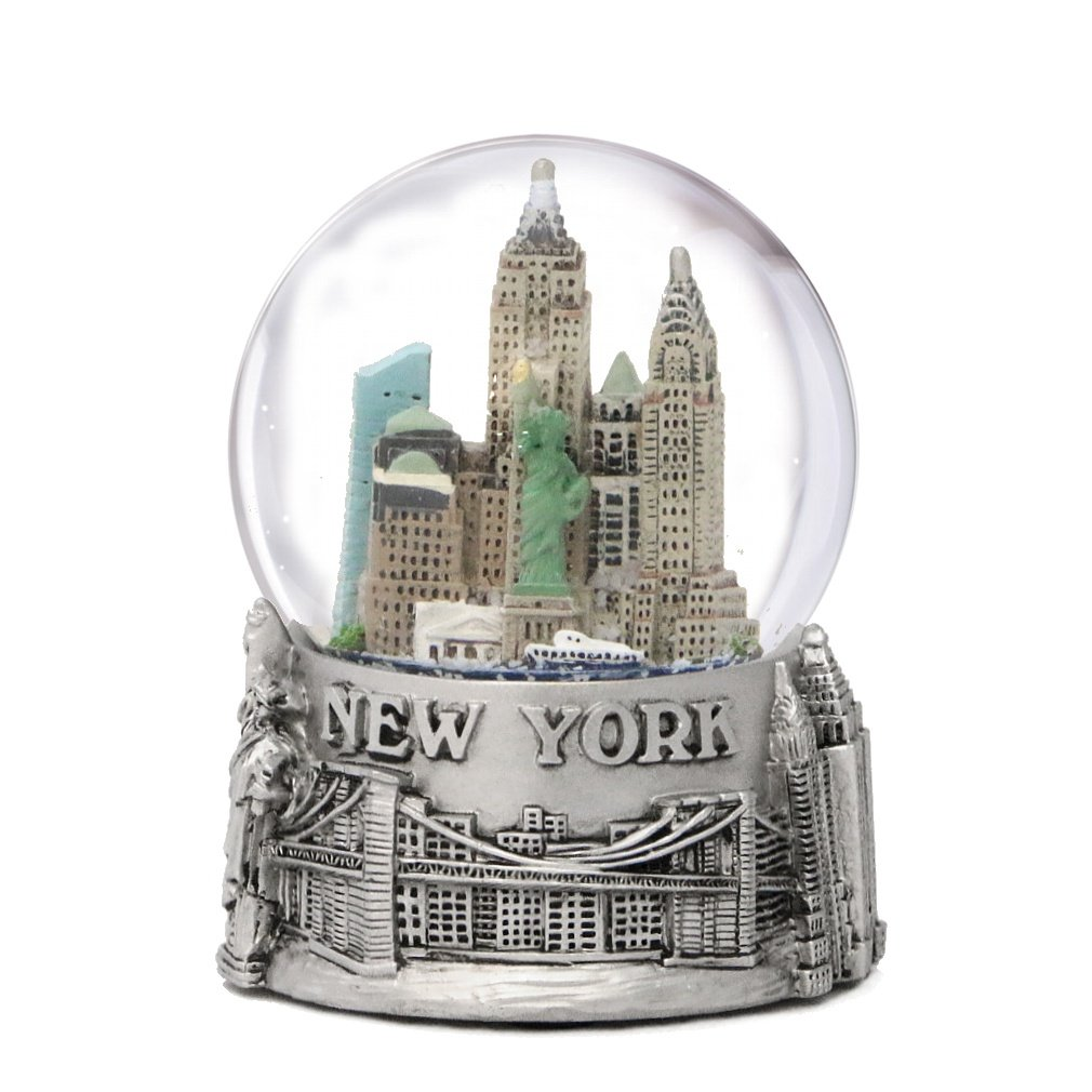 New York City Silver Lined Snow Globe 65mm NYC Souvenir Color Skyline Snow Globes 3.5'' by City-Souvenirs