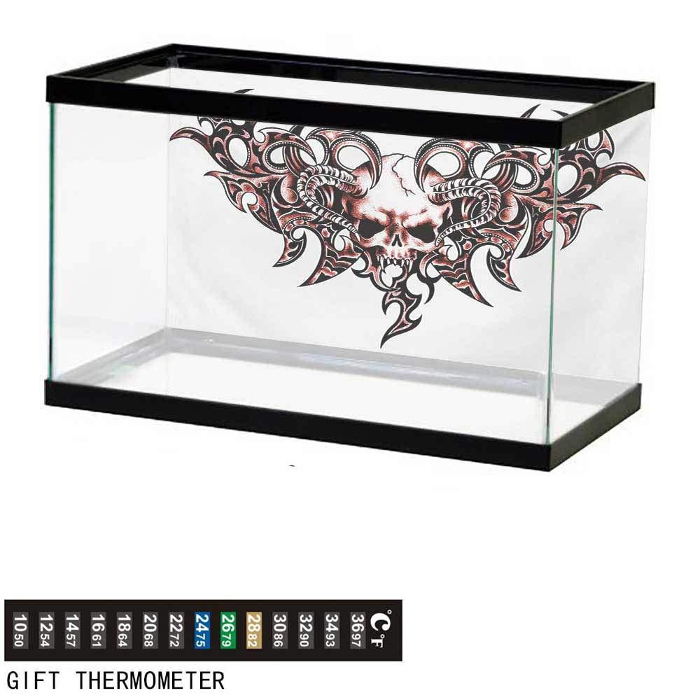 wwwhsl Aquarium Background,Tattoo,Goat Skull Shaped Swirl Blur Lines in Digital Watercolor Stylized Artsy Design Print,Magenta Fish Tank Backdrop 48'' L X 20'' H by wwwhsl