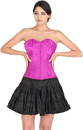 Purple Satin Corset Goth Burlesque Costume for Halloween Party Bustier Overbust